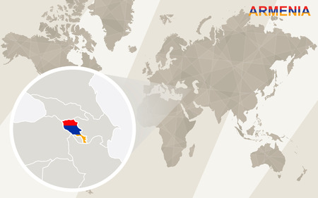 dram: Zoom on Armenia Map and Flag. World Map.