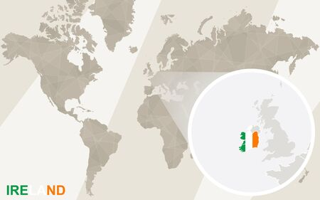 ireland map: Zoom on Ireland Map and Flag. World Map. Illustration
