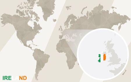 irish cities: Zoom on Ireland Map and Flag. World Map. Illustration