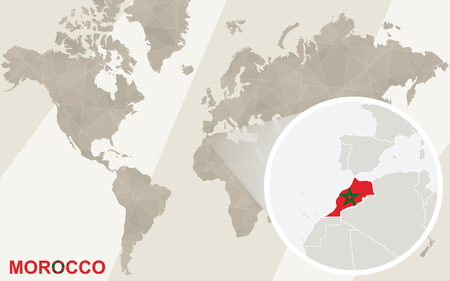 Zoom en Marruecos mapa y la bandera. Mapa del mundo.
