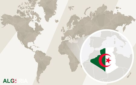 world flag: Zoom on Algeria Map and Flag. World Map. Illustration
