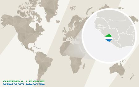 sierra leone: Zoom on Sierra Leone Map and Flag. World Map.