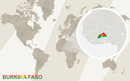 landlocked country: Zoom on Burkina Faso Map and Flag. World Map.