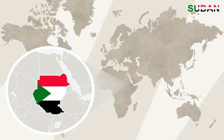 nile: Zoom on Sudan Map and Flag. World Map.
