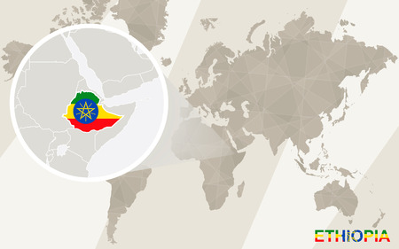 Zoom On Ethiopia Map And Flag. World Map. Royalty Free Cliparts ...