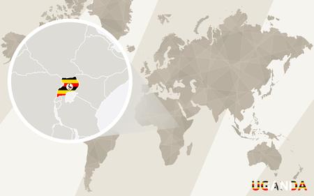 landlocked country: Zoom on Uganda Map and Flag. World Map.