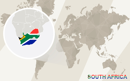 south africa map: Zoom on South Africa Map and Flag. World Map. Illustration