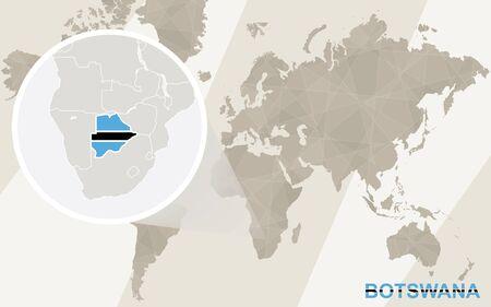 kalahari desert: Zoom on Botswana Map and Flag. World Map.