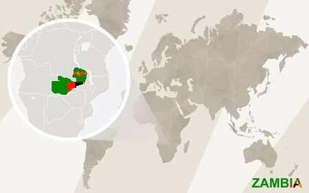 landlocked country: Zoom on Zambia Map and Flag. World Map. Illustration
