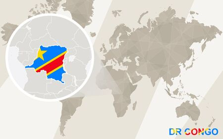 dr: Zoom on DR Congo Map and Flag. World Map.