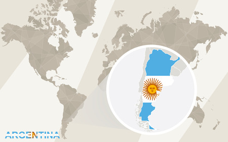 argentina map: Zoom on Argentina Map and Flag. World Map.