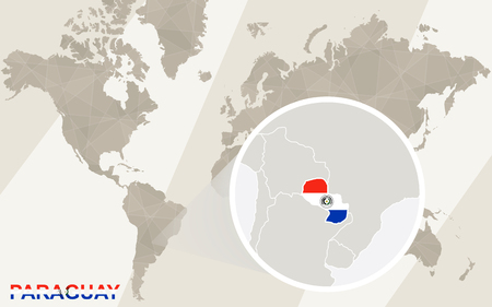 landlocked country: Zoom on Paraguay Map and Flag. World Map.
