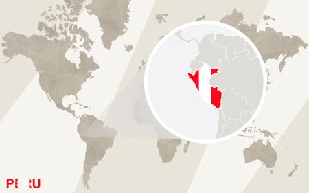 mapa del peru: Zoom en Per� mapa y la bandera. Mapa del mundo. Vectores