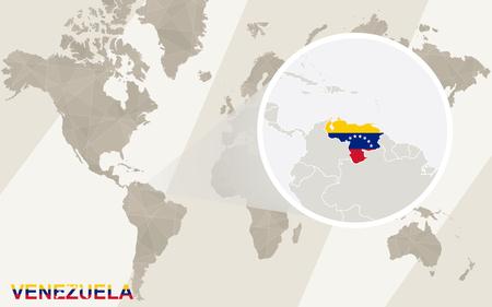 mapa de venezuela: Zoom en Venezuela mapa y la bandera. Mapa del mundo. Vectores