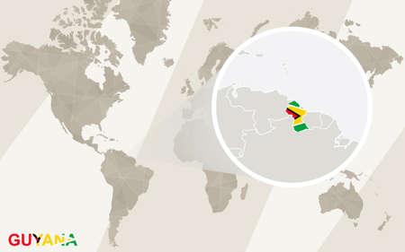 guyanese: Zoom on Guyana Map and Flag. World Map. Illustration