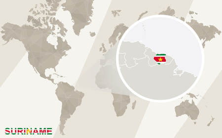 dutch landmark: Zoom on Suriname Map and Flag. World Map.