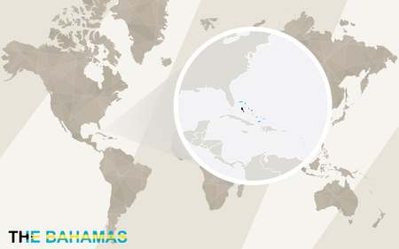 bahamas map: Zoom on The Bahamas Map and Flag. World Map.