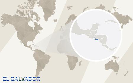 mapa de el salvador: Zoom en El Salvador mapa y la bandera. Mapa del mundo.
