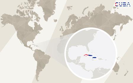 havana cigar: Zoom on Cuba Map and Flag. World Map. Illustration