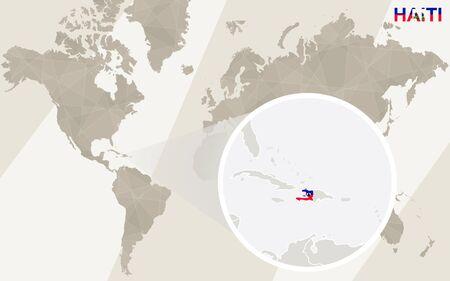 Zoom on Haiti Map and Flag. World Map. Illustration