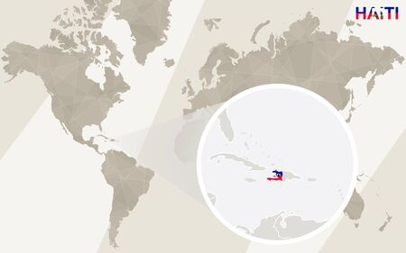 creole: Zoom on Haiti Map and Flag. World Map. Illustration