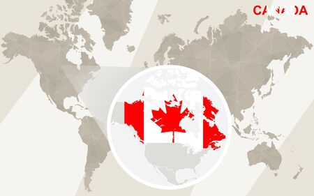 canada flag: Zoom on Canada Map and Flag. World Map.