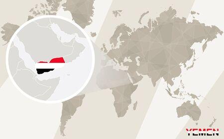 southwest asia: Zoom on Yemen Map and Flag. World Map.