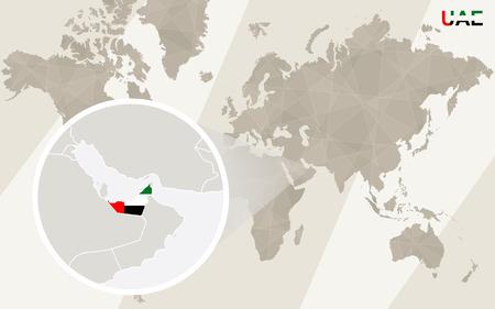 emirates: Zoom on United Arab Emirates Map and Flag. World Map.
