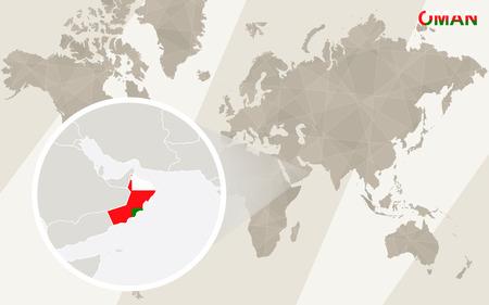 Zoom sur Oman Carte et drapeau. Carte du monde.