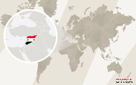 western asia: Zoom on Syria Map and Flag. World Map. Illustration