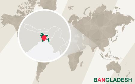 bengal light: Zoom on Bangladesh Map and Flag. World Map.
