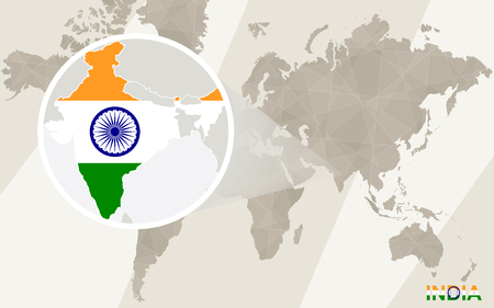 map of india: Zoom on India Map and Flag. World Map.