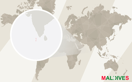 light maldives: Zoom on Maldives Map and Flag. World Map.