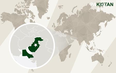 islamabad: Zoom on Pakistan Map and Flag. World Map. Illustration