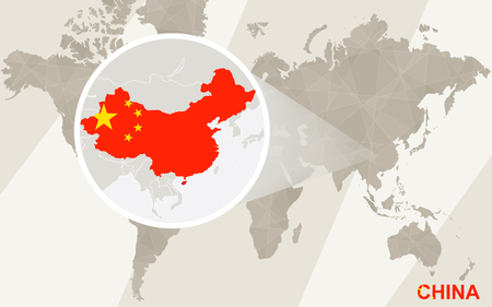 Zoom on China Map and Flag. World Map.