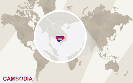 riel: Zoom on Cambodia Map and Flag. World Map.