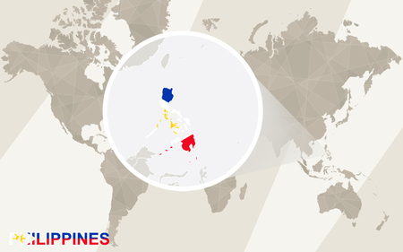 philippines map: Zoom on Philippines Map and Flag. World Map.