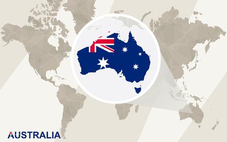 Zoom sur l'Australie Carte et drapeau. Carte du monde.