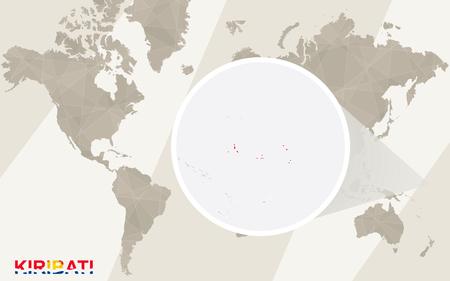 kiribati: Zoom on Kiribati Map and Flag. World Map. Illustration