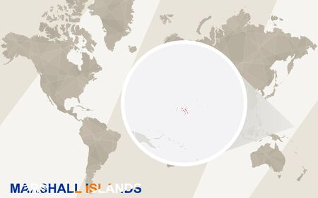 marshall: Zoom on Marshall Islands Map and Flag. World Map. Illustration
