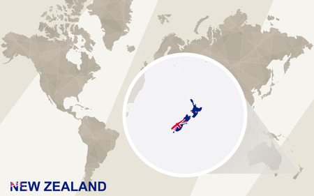 map of asia: Zoom on New Zealand Map and Flag. World Map. Illustration