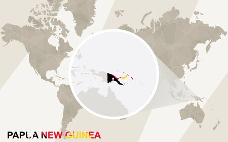 Nuova Guinea: Zoom on Papua New Guinea Map and Flag. World Map.