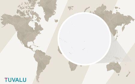 tuvalu: Zoom on Tuvalu Map and Flag. World Map.
