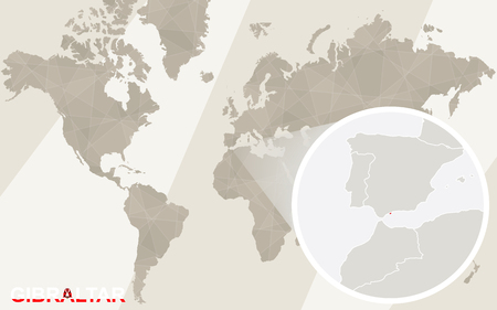 oversea: Zoom on Gibraltar Map and Flag. World Map.