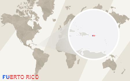 bandera de puerto rico: Zoom en el mapa y la bandera de Puerto Rico. Mapa del mundo.