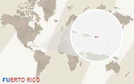 Zoom On Puerto Rico Map And Flag. World Map. Royalty Free Cliparts ...