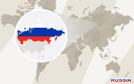 russia map: Zoom on Russia Map and Flag. World Map.