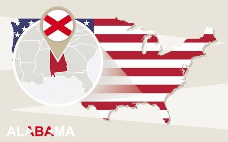 alabama: USA map with magnified Alabama State. Alabama flag and map.