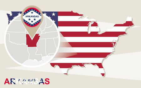 arkansas: USA map with magnified Arkansas State. Arkansas flag and map.