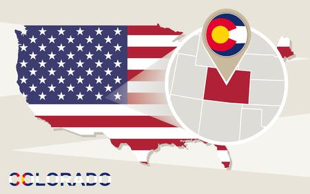 colorado: USA map with magnified Colorado State. Colorado flag and map.